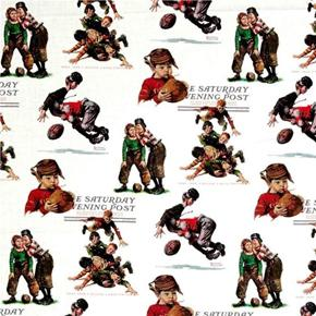 Saturday Evening Post Football Boys Norman Rockwell Cotton Fabric