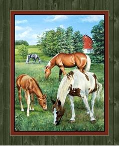 Picture of Wild Wings Valley Crest Horses Grazing Horse Large Cotton Fabric Panel