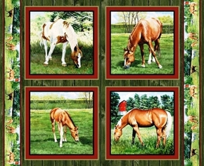 Wild Wings Valley Crest Grazing Horse Cotton Fabric Pillow Panel Set