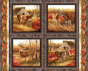 Picture of Wild Wings Amongst The Shadows Deer Doe Cotton Fabric Pillow Panel Set
