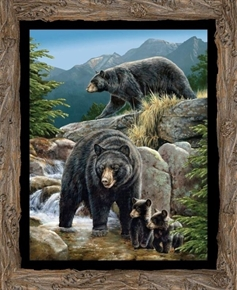 Picture of Wild Wings Cool Waters Black Bear Family Large Cotton Fabric Panel