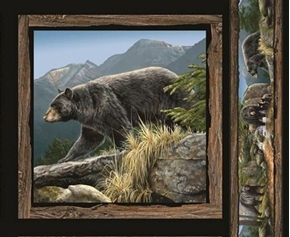 Wild Wings Cool Waters Black Bear Sideways Cotton Fabric Pillow Panel