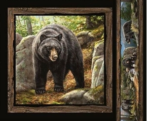 Wild Wings Cool Waters Black Bear Facing Cotton Fabric Pillow Panel
