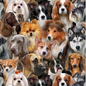 Dog Breeds Husky Corgie Collie Maltese Schnauzer Bulldog Cotton Fabric