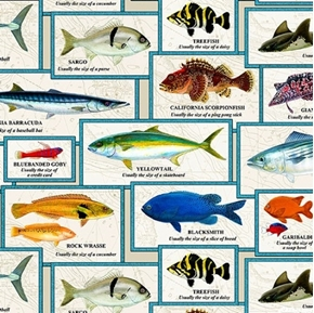 Catalina Island Chart of Fish with Names Fishing Cream Cotton Fabric