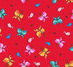 Mary Engelbreit Marys Mottos To Live By Butterfly Red Cotton Fabric