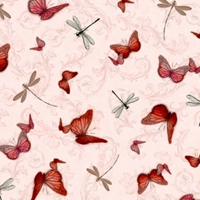 La Vie En Rose Butterflies and Dragonflies Pink Cotton Fabric
