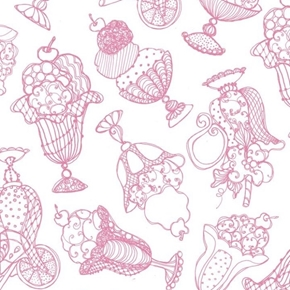Sweetie-Loralie Tossed Treats Pink Ice Cream Sundaes Cotton Fabric