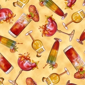 Picture of Paradise Delights Tropical Cocktails Tossed on Gold Cotton Fabric