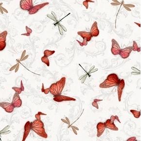 Picture of La Vie En Rose Butterflies and Dragonflies Pale Grey Cotton Fabric