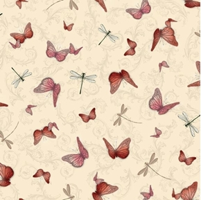 La Vie En Rose Butterflies and Dragonflies Light Cream Cotton Fabric