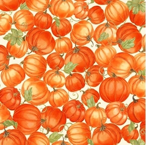 Picture of Harvest Bounty Packed Pumpkins Gold Metallic Ecru Cotton Fabric