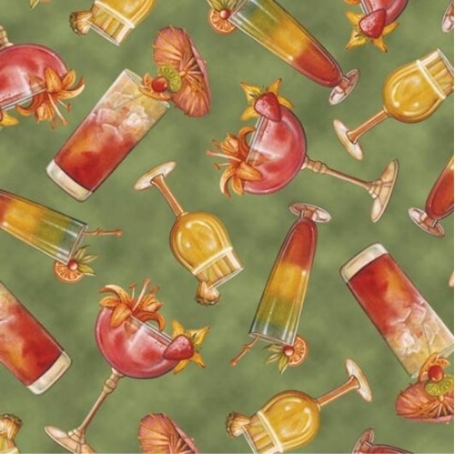 Paradise Delights Tropical Cocktails Tossed on Green Cotton Fabric