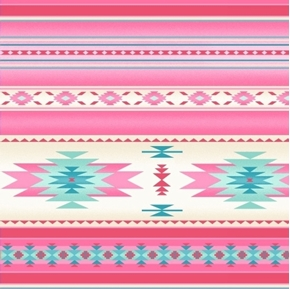 Tucson Southwest Aztec Native American Soft Pink Stripe Cotton Fabric