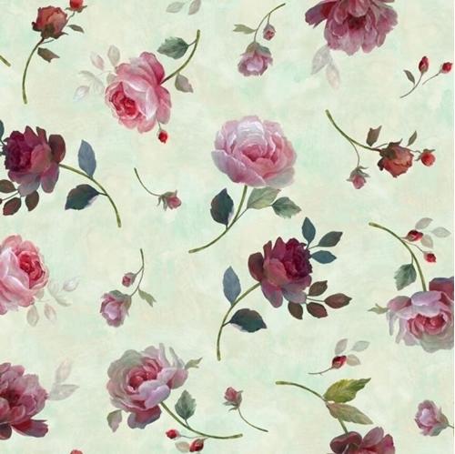 Rosewater Tossed Roses Elegant Garden Rose Sage Cotton Fabric