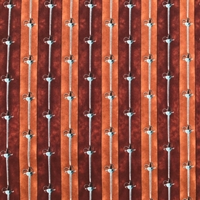 Picture of Pirates and Indians Peter Pan Swords in Rows Brown Cotton Fabric