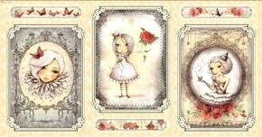 La Vie En Rose Santoro Girl Picture Patch 24x44 Cotton Fabric Panel