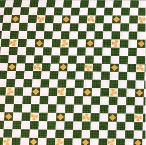 Lucky Shamrocks Green and White Checks Shamrock Cotton Fabric