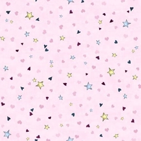 Rainbow Dreams Tiny Stars and Hearts on Pink Cotton Fabric
