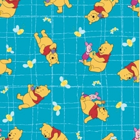 Flannel Disney Winnie the Pooh Bees and Honey Blue Cotton Fabric