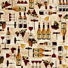 Picture of Vineyard Collection French Wine Bordeaux Bottles Grapes Cotton Fabric