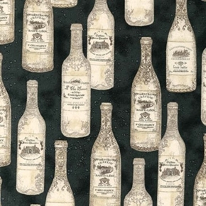 Vineyard Collection Vintage French Wine Bottles Black Cotton Fabric
