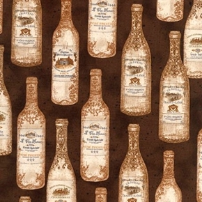 Vineyard Collection Vintage French Wine Bottles Brown Cotton Fabric