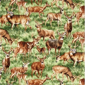 Picture of American Wildlife Deer Doe Buck Fawn in the Grass Cotton Fabric