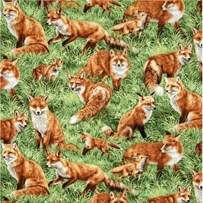 Picture of American Wildlife Red Fox Foxes in the Grass Cotton Fabric