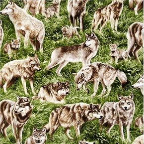Picture of American Wildlife Wolf Wolves in the Grass Cotton Fabric