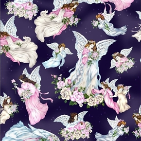A Beautiful Place All Angels Guardian Angel Flowers Blue Cotton Fabric