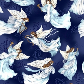Picture of A Beautiful Place Tossed Angels Horns Harps on Blue Cotton Fabric