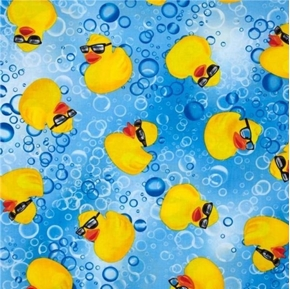 Cry Baby Rubber Ducky with Sunglasses and Bubbles Blue Cotton Fabric
