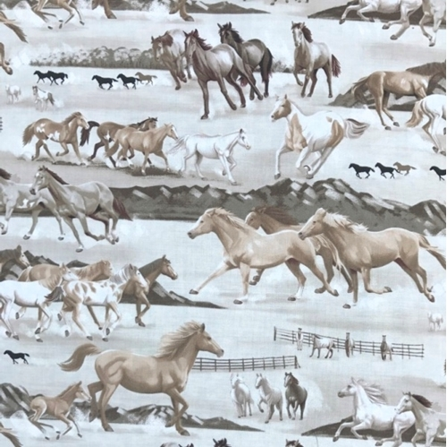 Best of the West Wild Horses Galloping Sepia Horse Cotton Fabric