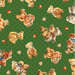 Bear Hugs Tossed Bears Teddy Bear Love Hearts Green Cotton Fabric