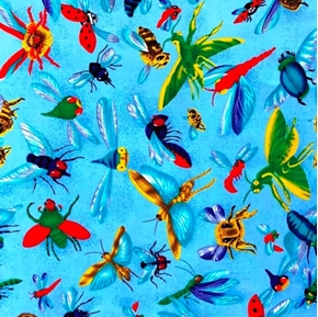 Buzzin By Large Flying Insects Bugs Bees on Blue Cotton Fabric