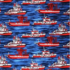 Emergency Fire Dept. Fire Rescue Fireboat Boats in Water Cotton Fabric
