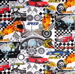 Picture of Extreme Sports IV Speedway Car Racing Collage Cotton Fabric