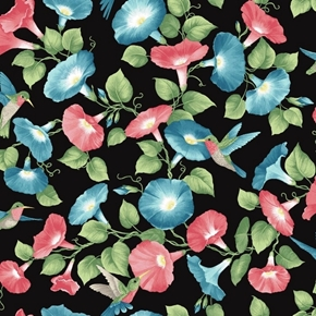 Glorious Hummingbirds Red and Blue Morning Glory Flowers Cotton Fabric