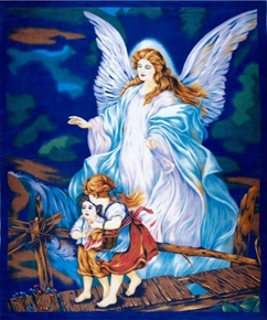 "Picture of Guardian Angel Watching Over Children 24x44"" Cotton Fabric Panel"