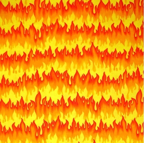 Hot Rods Light'em Up Red Orange and Yellow Flames Cotton Fabric