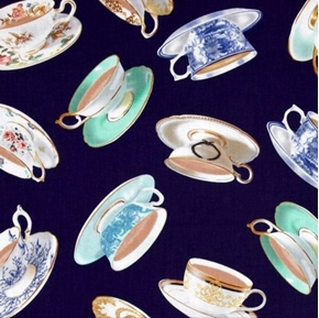 High Tea Fine China Teacups Tea for Two Cotton Fabric