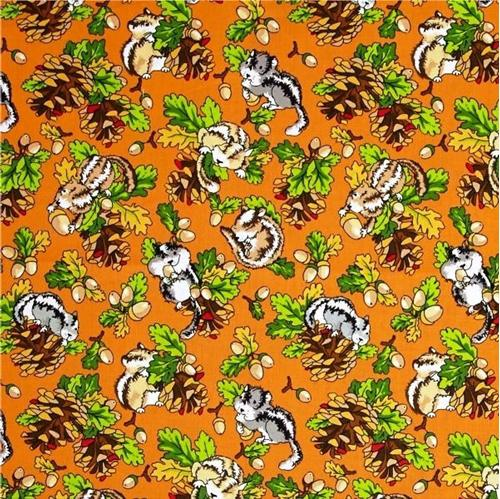 Krazy Kritters Chubby Chipmunks Acorns Pinecones Orange Cotton Fabric