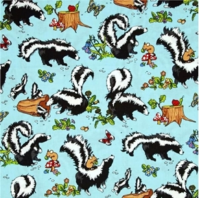 Krazy Kritters Skunks and Mice in the Woods Skunk Blue Cotton Fabric