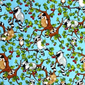 Krazy Kritters Raccoons in Apple Trees Raccoon Blue Cotton Fabric