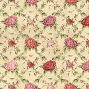 Picture of La Vie En Rose Trellis with Roses Light Cream Cotton Fabric