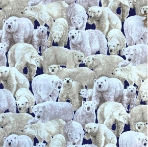 Living Wonders Packed Polar Bears Blue Cotton Fabric