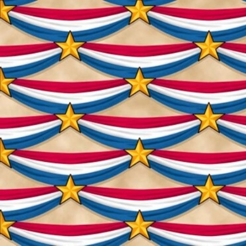 Long May She Wave American Flag Bunting Star Beige Cotton Fabric