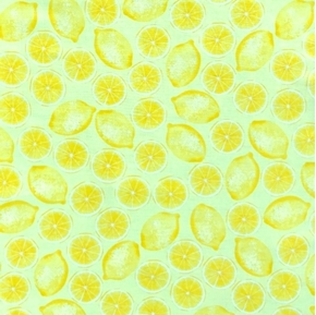 Maine Attraction Yellow Lemons Lemon Halves Cotton Fabric