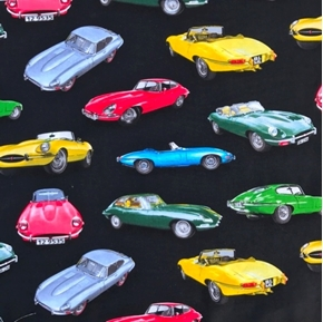 Man Cave II Vintage Jaguars Jaguar Sports Car Black Cotton Fabric